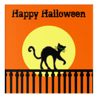Spooky Black Cat on Fence Art With Full Moon