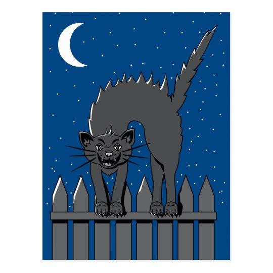 Spooky Black Cat Postcard