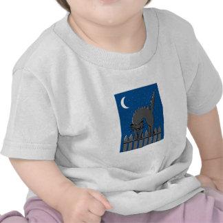 Spooky Black Cat Tee Shirts