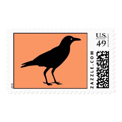 Spooky Black Crow Orange Halloween Postage Stamps