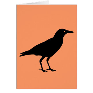 Spooky Black Crow Orange Happy Halloween Card
