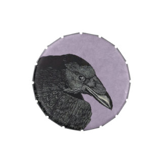 Spooky Black Crow Raven Face Jelly Belly Tin