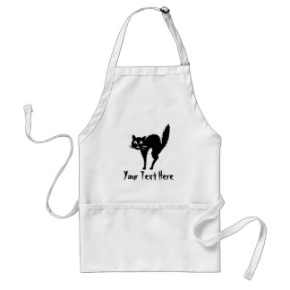 spooky black Halloween cat with arched back Adult Apron