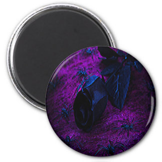 Spooky Black Material Rose, Black Spiders 2 Inch Round Magnet