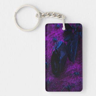 Spooky Black Material Rose Black Spiders Rectangle Acrylic Keychains