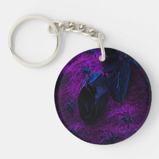 Spooky Black Material Rose Black Spiders Acrylic Key Chains