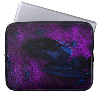 Spooky Black Material Rose, Black Spiders Laptop Computer Sleeve