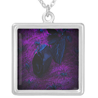Spooky Black Material Rose, Black Spiders Silver Plated Necklace