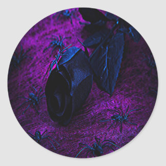 Spooky Black Material Rose, Black Spiders Classic Round Sticker