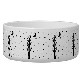 Spooky Black Silhouette Tree Crescent Moon Stars Bowl