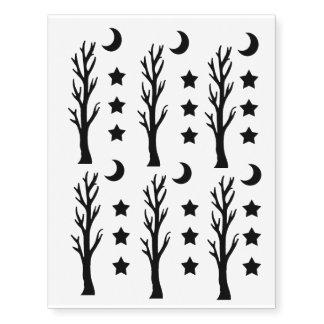 Spooky Black Silhouette Tree Crescent Moon Stars Temporary Tattoos