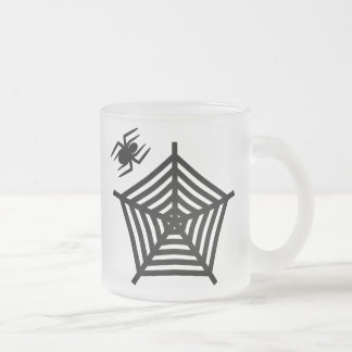 Spooky Black Spider & Web Frosted Glass Mug