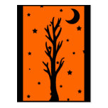 Spooky Black Tree Silhouette Postcard