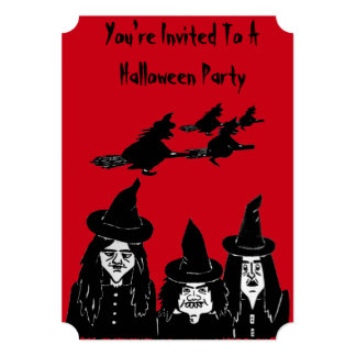 spooky black witches scary halloween invitation