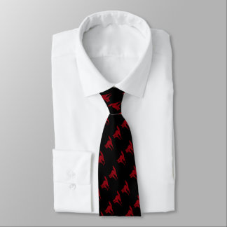 spooky blood red cat halloween fun design neck tie