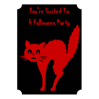 spooky blood red cat halloween party invitations