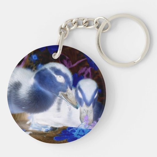 Spooky blue and white baby ducks acrylic key chain
