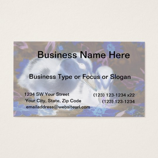 Spooky blue and white baby ducks business card