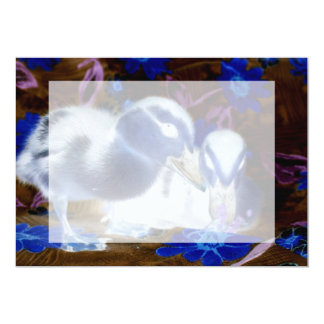Spooky blue and white baby ducks 5x7 paper invitation card