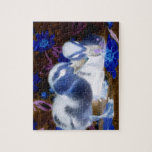 Spooky blue and white baby ducks puzzle