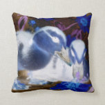 Spooky blue and white baby ducks throw pillow