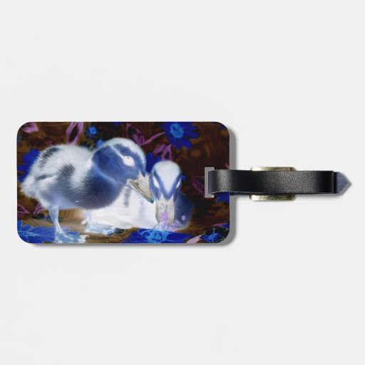 Spooky blue and white baby ducks travel bag tags
