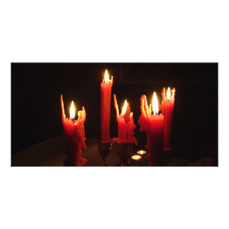 Spooky candles in the dark customized photo card