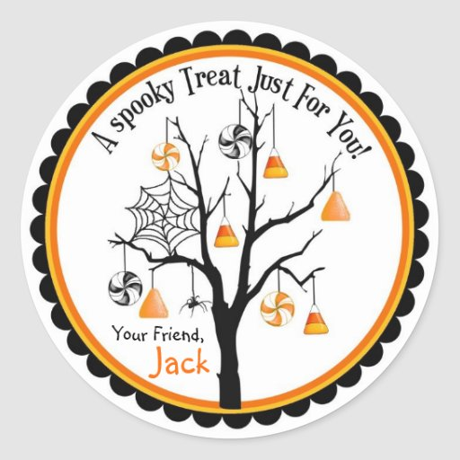 Spooky Candy Tree Halloween Favor Stickers