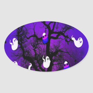 Spooky Candy Tree Oval Sticker