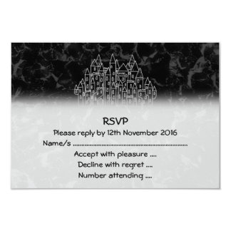 Spooky Castle Design in Black and Gray. Card