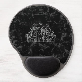 Spooky Castle Design in Black and Gray Gel Mouse Mats
