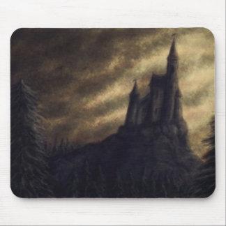 spooky castle halloween mouse pad