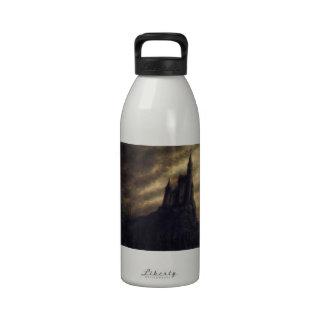 spooky castle halloween water bottles