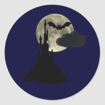 spooky castle in full moon classic round sticker