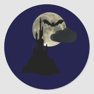 spooky castle in full moon classic round sticker