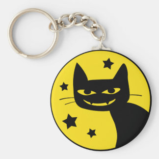 Spooky Cat Basic Round Button Keychain