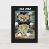 Spooky Cat in Halloween costume card or invitation