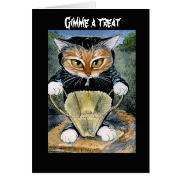 Halloween Themed Spooky Cat in Halloween costume card or invitation