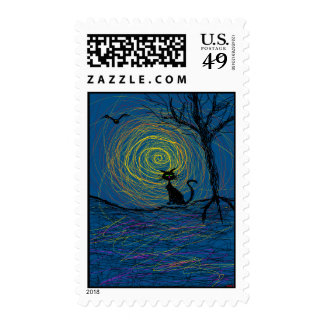 spooky cat in woods stamp
