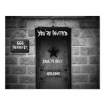 Spooky Cemetery crypt Halloween invitations
