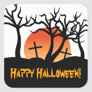 Spooky Cemetery Happy Halloween Postage Stamp Square Sticker