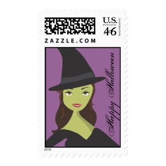 Spooky Chic Witch Happy Halloween Postage