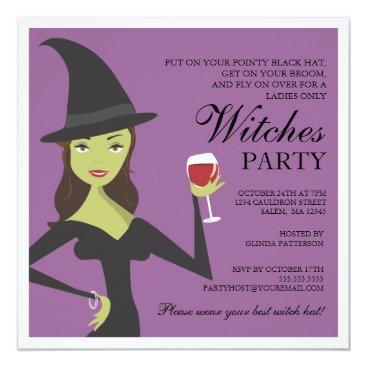 kat_parrella Spooky Chic Witch Party Halloween Invitation