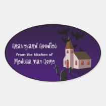 Spooky church, halloween baking labels oval sticker