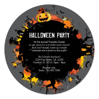 Spooky Circle Round Halloween Invitation