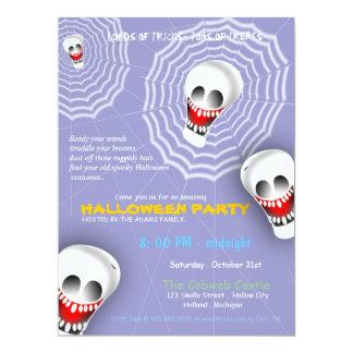 Spooky Cobwebs Scary Skulls Halloween Party Invite