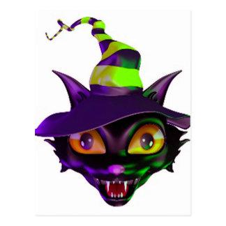 Spooky Colorful Cat Postcard