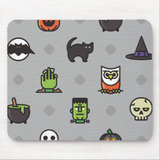 Spooky Colorful Halloween Pattern Mouse Pad