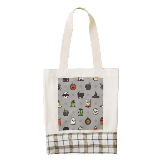 Spooky Colorful Halloween Pattern Zazzle HEART Tote Bag
