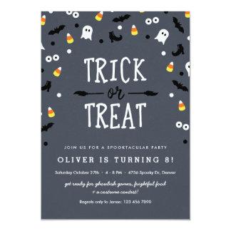 Spooky Confetti Halloween Birthday Invitations